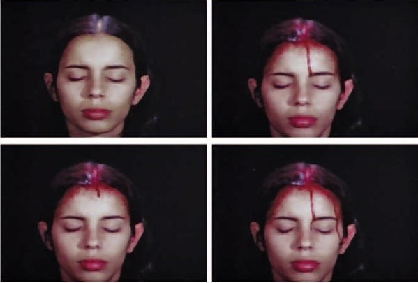 Ana Mendieta, Sweating Blood, 1973, super-8 color, silent film (all images courtesy the artist and P.P.O.W. Gallery, New York)
