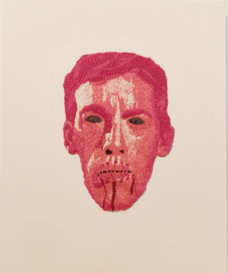 LJ Roberts, Censorship Protest Mask (David Wojnarowicz), 2011, embroidery on cotton