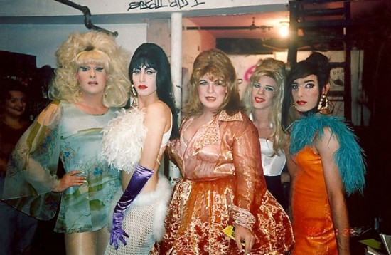 Lady Bunny, Misstress Formika, Sweetie, Anna Conda and Tabboo! at the Pyramid Club. (August, 1992) (all photos by Linda Simpson via her site The Drag Explosion)