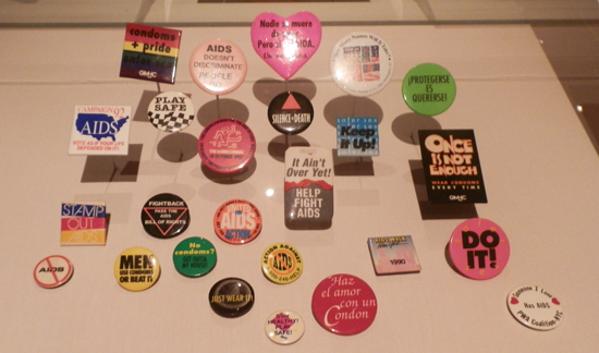 Selection of AIDS activist buttons (photo by author)