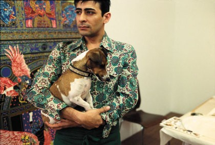 Shaw and his dog in his studio in 2007