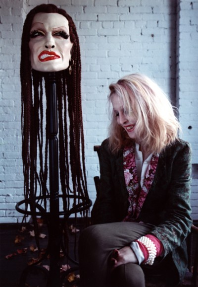 Greer Lankton with one of her works, 1996 (Photo by Annie O'Neill, via artnet.com)
