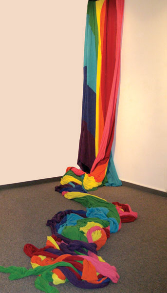 Liz Collins, Accumulated Pride, 2014, Cotton and other yarns loomed during KNITTING NATION performance installations, 2005-2012, Courtesy of the artist