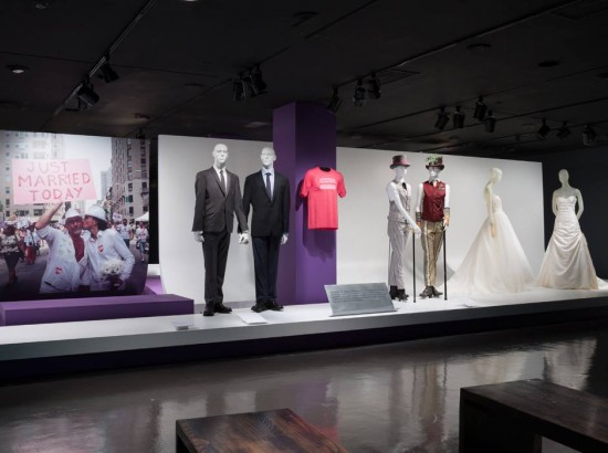 Wedding ensembles installation view of A Queer History Of Fashion