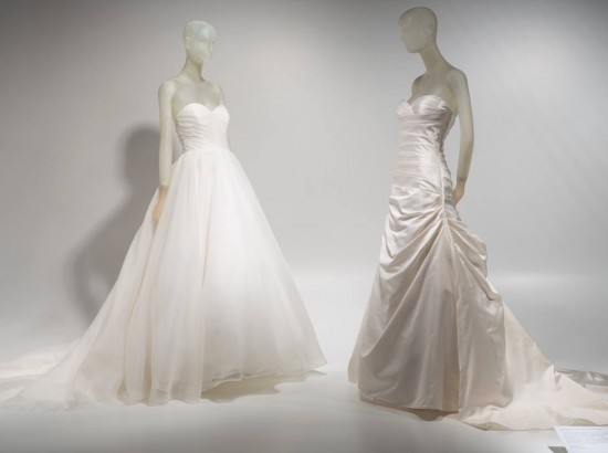 Wedding dresses worn by Alexis and Kim Stolz, Organza; silk Spring 2013, USA