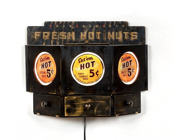 Skylar Fein, Fresh Hot Nuts, 2013, Latex, wood, light kit