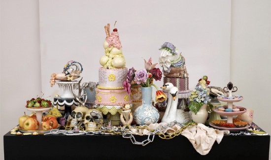Jessica Stoller, Still Life 2013, porcelain, china paint, luster, mixed media
