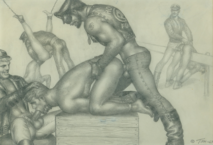 Tom of Finland (Touko Laaksonen), Biker Fuck, 1965, Pencil on paper, 8.25 x 11.5 in., Leslie-Lohman Collection, Gift of Leonard Paoletti, Copyright 1965 Tom of Finland Foundation