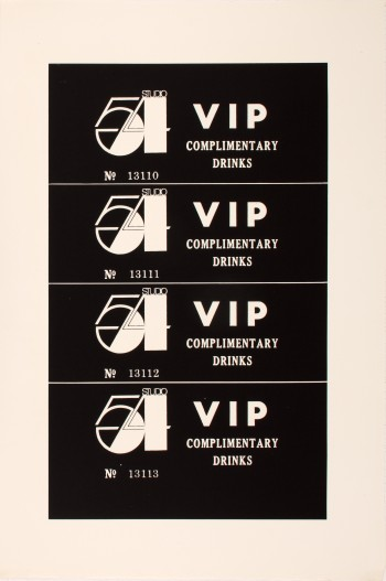 Andy Warhol, Studio 54 Complimentary Drink Invitation, ca. 1978, ©The Andy Warhol Foundation for the Visual Arts, Inc., courtesy of The Andy Warhol Museum