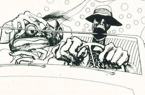 Ralph Steadman shows how Raoul Duke and Dr. Gonzo know how to do a road trip