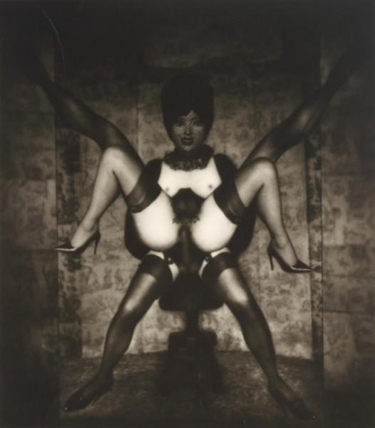 "Pierre Molinier, Ossipago se cache [""Ossipago lies""], ca. 1968–1970 Vintage gelatin silver print (photomontage)  7 3/8 x 6 1/2 inches, (18.7 x 16.5 cm)"