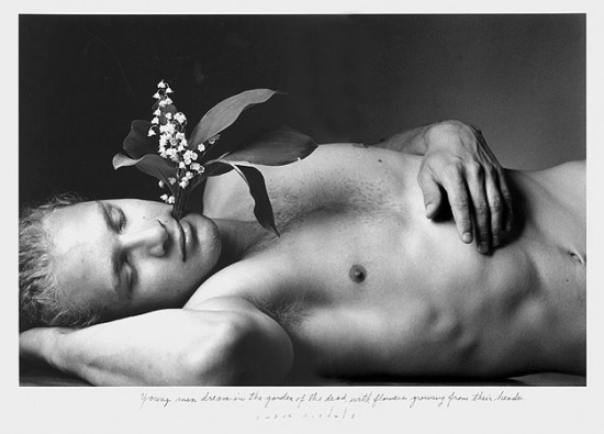 Duane Michals, Young Men Dreams In The Garden of the Dead with Flowers Growing From Their Heads, 1995, gelatin silver print with hand applied text (all photos, unless otherwise noted, courtesy the artist and DC Moore Gallery, via pacemacgill.com)