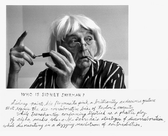 Duane Michals, Who Is Sidney Sherman?, 2000, gelatin silver print with hand applied text
