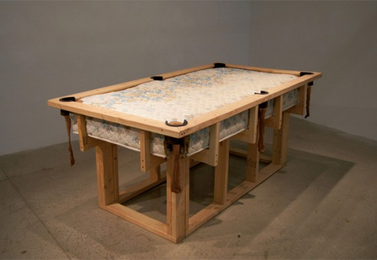 Anna Campbell, A Pocket, A Cue, A Shot  2012, mattress, 2 x 4s, rubber, stockings
