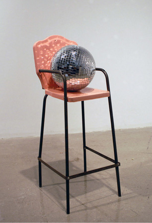 Anna Campbell, Nature 2013, mirror ball, antique steel high chair (all images courtesy of the artist and BOSI Contemporary, New York)