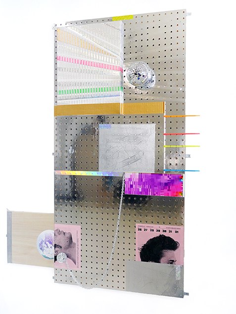 Bradley Wester  DISCOurse, 2014 Acryla gouache and tape on canvas, holographic & glitter tape, archival digital print, Butt calendar pinup, chain, aluminum tube, cable ties, mirror balls, on custom Mylar coated pegboard