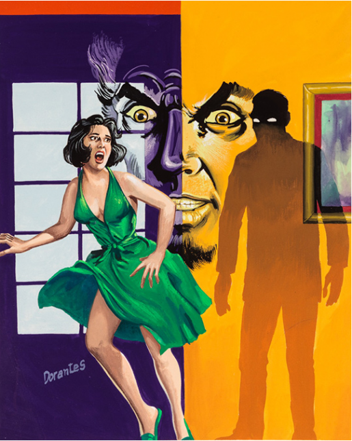 Dorantes, Untitled (Terrified woman runs from evil face and shadow man), c. 1960-75 , tempera on illustration board