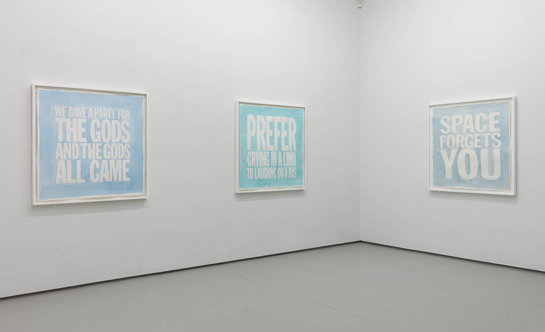 Installation view of John Giorno's Space Forgets You at Elizabeth Dee Gallery