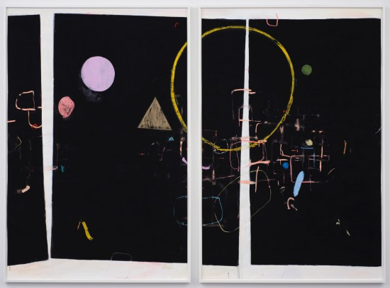 Scott Treleaven I would like the world not to change so that I can be against the world, 2015 DIPTYCH: pastel, gouache, gesso, crayon, house paint and collage on paper two panels; each panel 75 x 50.5 inches