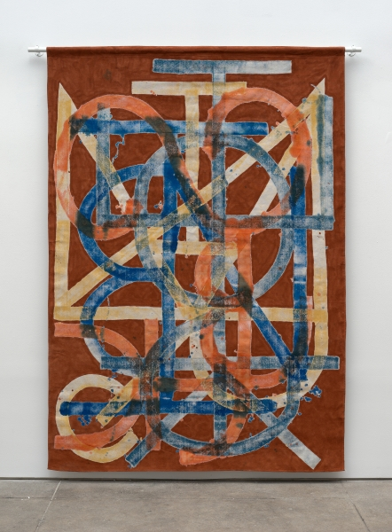 Elijah Burgher, BotD (Eden, repeat), 2015, Acrylic on canvas drop cloth
