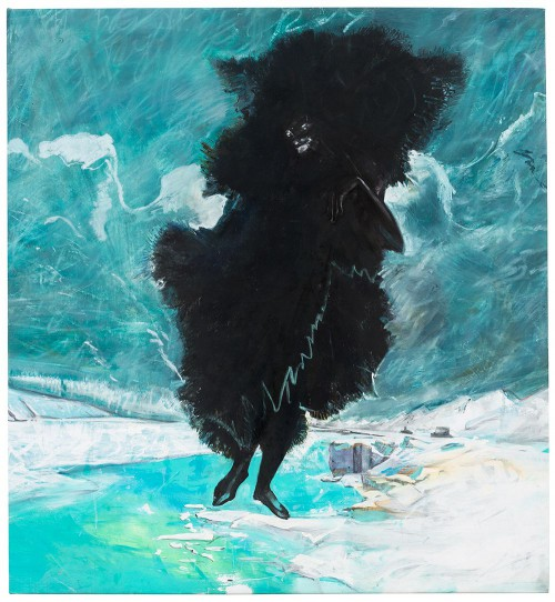 Cy Gavin, Black, Black, Black is the Color of My True Love's Hair, 2015 acrylic, oil, chalk on brushed cotton 55 x 50 inches (courtesy of the artist and Sargent's Daughters, New York)