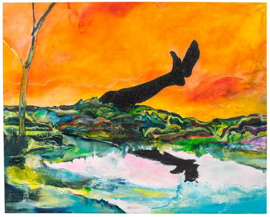 Cy Gavin, Spittal Pond, Bermuda, 2015 acrylic, oil, chalk, staples on canvas , 58 x 72 inches (courtesy of the artist and Sargent's Daughters, New York)