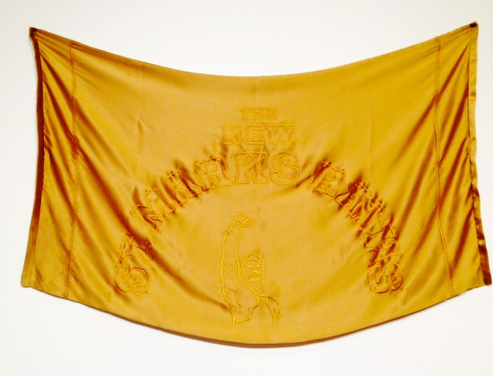 Chad States, A Towel For The Gods, 2013, Gold silk and hand embroidered gold silk thread