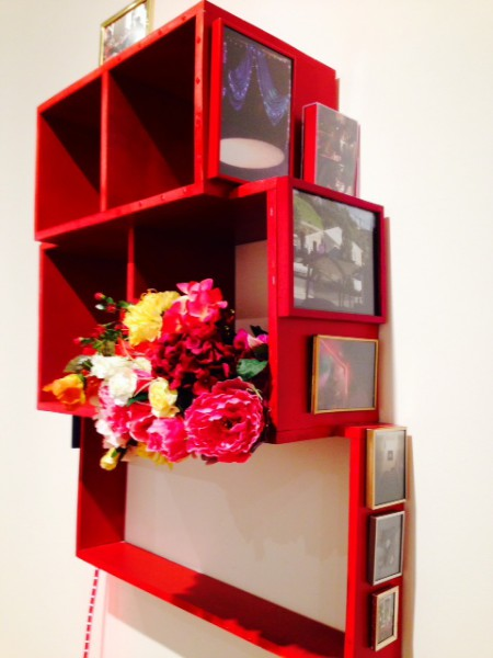 Wu Tsang & RJ Messineo, Alter (Life Chances), 2011 Wood, spray paint, photos, frames, plastic flowers, rhinestone clutch