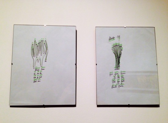Installation view of drawings by Chloe Dzubilo
