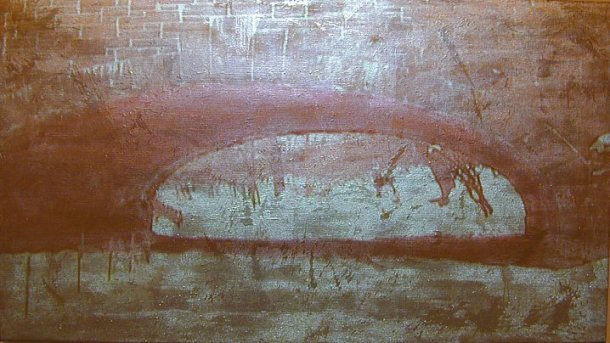 "Donald Moffett, Gold/Tunnel, 2003, Video projection, oil and enamel on linen, 54 x 96"" (Private collection; Courtesy of Marianne Boesky Gallery, New York)"