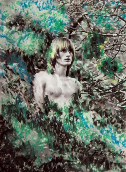 Peter Berlin, Self Portrait in Nature, c. 1970s, Hand-painted vintage gelatin silver print