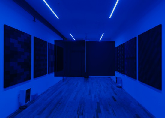 Glen Fogel, Why Don't I...Pretend To Be Your Dad, 2015, 2 channel video, synchronized LED lighting, custom black glass screens, sound, 29 minutes (all images courtesy the artist and JTT, New York)