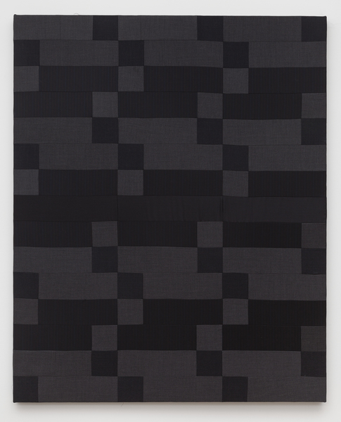 Glen Fogel, Man Quilt #6 (Lucas), 2015 Paul Betenly dark gray wedding suit, super fine wool suiting, acoustic foam 58 x 47 inches