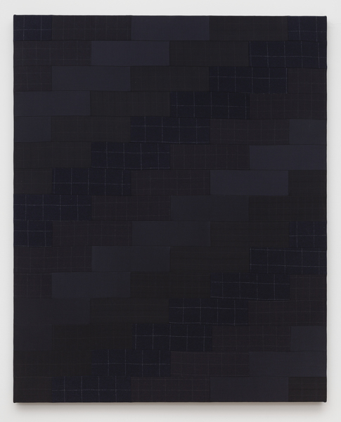 Glen Fogel, Man Quilt #1 (Dad), 2015, Tommy Hilfiger mismatched navy checked suit, super fine wool suiting, acoustic foam 58 x 47 inches