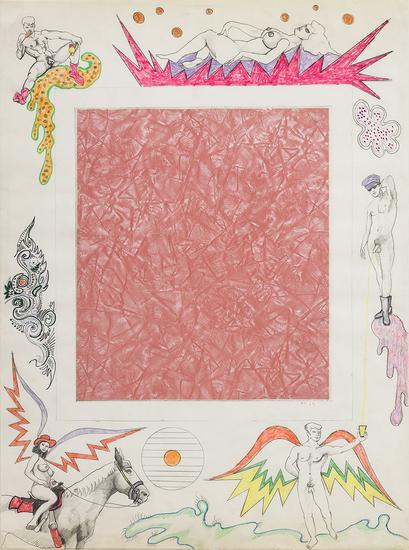 Robert Smithson, Untitled [Pink linoleum center], 1964. Collage and color pencil on paper