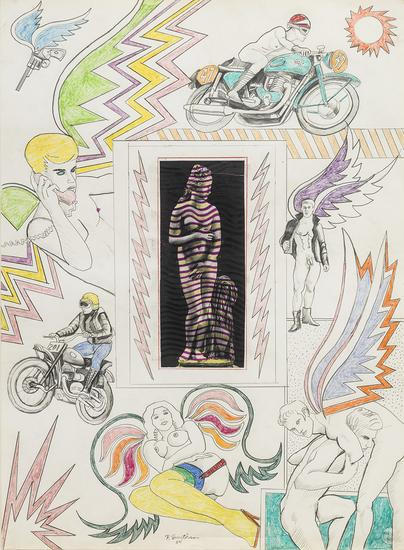 Robert Smithson, Untitled [Venus with lightning bolts], 1964. Pencil and crayon with collage on paper (all images © Holt-Smithson Foundation / Licensed by VAGA, New York, NY, Courtesy of James Cohan Gallery, New York)