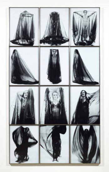 Jürgen Klauke, Verschleierung (Veiling), Black and white Lambda prints, 1973 (Courtesy the artist and Koenig & Clinton, New York)