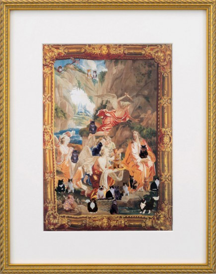 Karen Kilimnik, the adoration of the cats 2016, Collage on paper