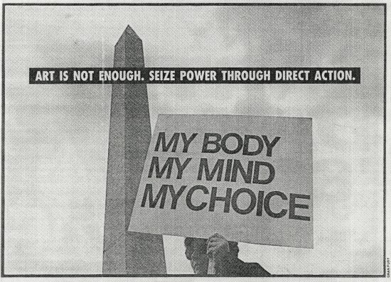 "Gran Fury, ""Art is Not Enough"" (1988), printed in the Village Voice"