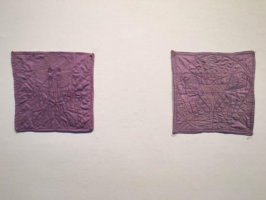 Nicki Green, Quilted Lavender Hanky #1 and #2, 2014 and 2015, quilted cotton and polyester