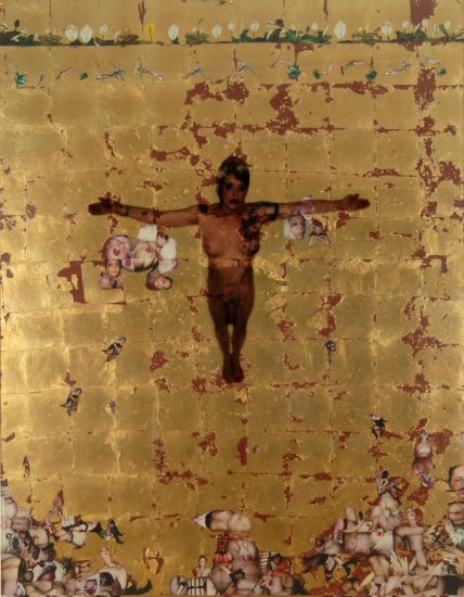 Genesis Breyer P-Orridge, Cruciform (Sigil Working), 2005, Polaroids, gold leaf, c-print on plexi, 70 x 54 in., Courtesy the artists and Invisible-Exports
