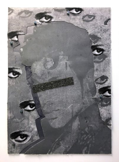 Idol Eclipsed (Prince), 2016 monotype print and collage