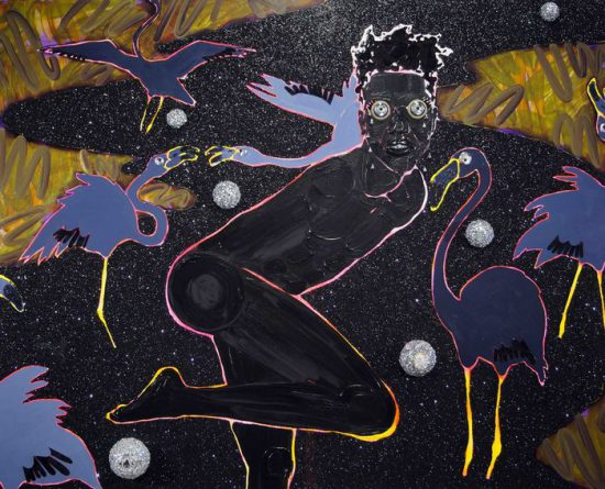Devan Shimoyama, Every Lover in the Form of Stars (Tears of the Flamingo Prince), 2016 Oil, Flashe, collage, rhinestones, glitter, beads and foam on canvas (all images courtesy the artist and Lesley Heller Workspace)