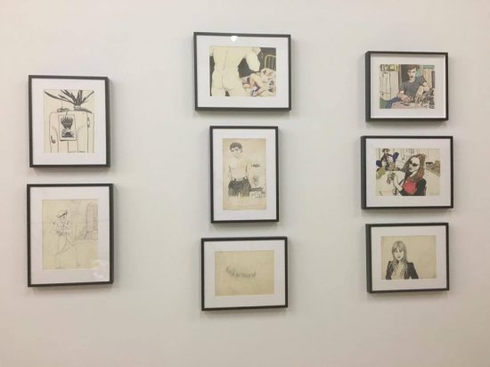 Installation view of Curt McDowell drawings