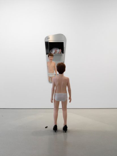 Elmgreen and Dragset, The Experiment, 2012, Polyester resin, glass fibre, acrylic paint, glass eyes, human hair, wood, lacquer, mirror, metal parts, leather (all photography by Steven Probert; Courtesy the artists and FLAG Art Foundation)