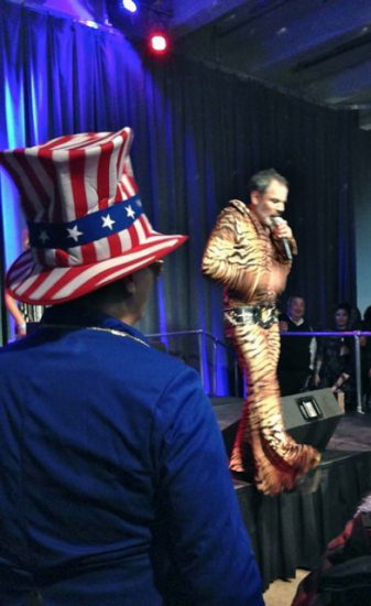 'Uncle Sam' and El Vez in his tiger costume…with a tail!