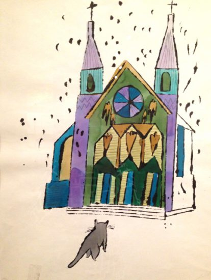 Cat in Front of Church, ca 1959