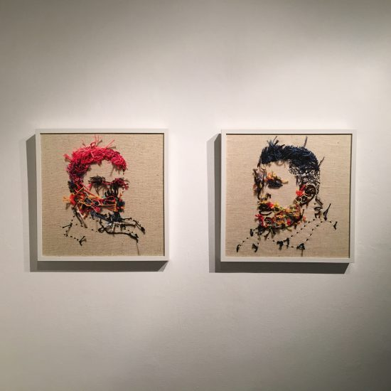 Installation view of Mutton Chops and Blue Mohawk (Backwards Flower Beards), archival pigment print on acid free mat board