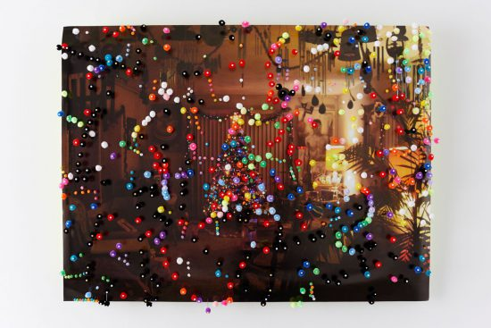 Brock Enright Installation at 876, 2016 Installation, photograph, pins, Pom poms, t-shirt 5 1/2 x 7 1/2 inches Image courtesy of the artist and Kate Werble Gallery, New York Image credit: Elisabeth Bernstein Photography