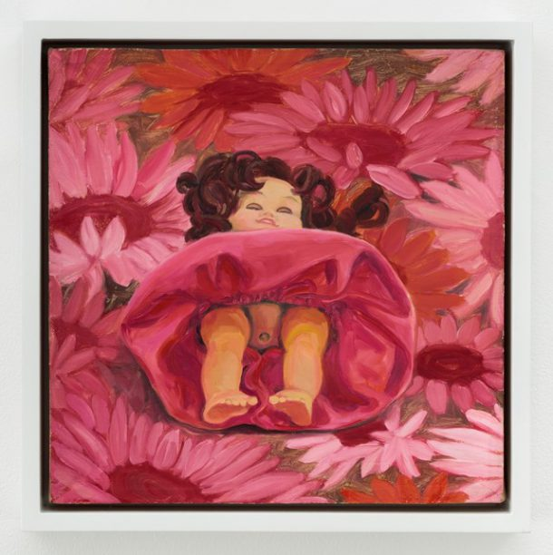 """Portia Munson, """"Flower"""", 1999, oil on linen, 9 x 9 inches (photo courtesy the artist and PPOW Gallery)"""